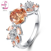 ZHE FAN Elegant Flower Engagement Wedding Ring Fashion AAA Cubic Zirconia Leaf Ring Female Jewelry Christmas Gift Champagne