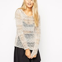 Vila Miasam Long Sleeve Open Knit Sweater - Pink champagne