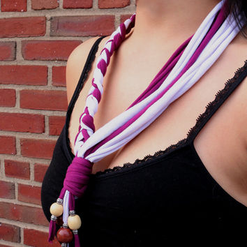 T-shirt Fabric Necklace | Sangria Swirl | Half Braided With Beads