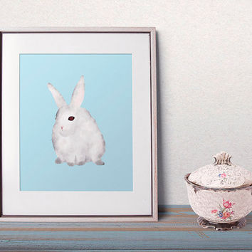 Bunny art, pastel blue, nursery animal prints, nursery wall art, nursery animal art, instant home decor, cute animals, kids illustration