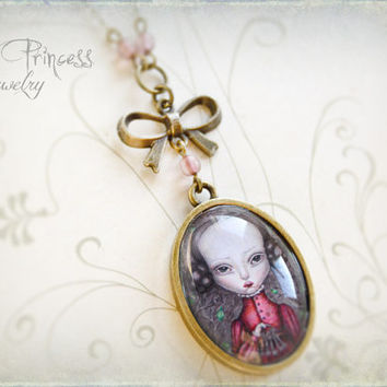 GABRIELLE Victorian Vintage Inspired Whimsical Art Locket Necklace By Odd Princess, Wearable Art