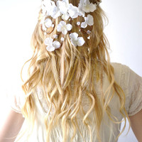 Bridal crown, flower head wreath, wedding hair accessory, woodland hair piece, Hair Wreath, Circlet, Ivory, headpiece - IVORY APHRODITE