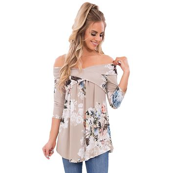 Gray Floral Off Shoulder Crisscross Top