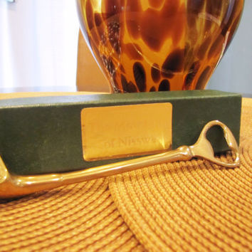 vintage solid brass golf club bottle opener with gift box