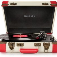 Crosley Executive Retro Portable USB Turntable CR6019A-RE - Plays Records and Converts Records to Digital - Red & Cream