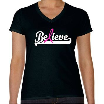 Believe Pink Ribbon Breast Cancer Awareness Survivor T-Shirt