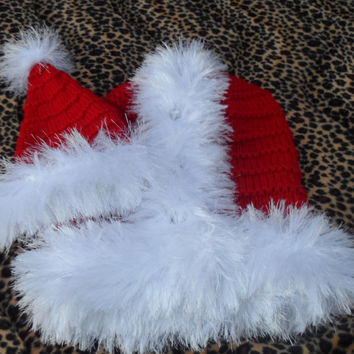 Christmas baby, PremNewborn CHRISTMAS coming home set, photo prop, furry trimmed wrap, hat, red & white cacoon