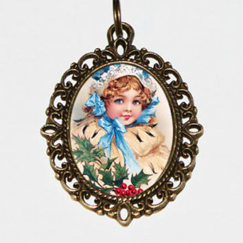 Christmas Girl Necklace, Victorian, Mistletoe, Holly, Holiday Jewelry, Bronze Oval Pendant