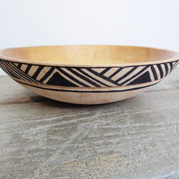 Boho Wood Bowl / Vintage Wood Bowl / Bohemian Bowl / African Wood Bowl / Carved Wood Bowl / Shabby Chic Bowl
