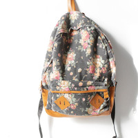 90s floral TWIN PEAKS backpack melrose era KNAPSACK back to school book bag