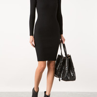 AZZEDINE ALAÏA LAINE CÔTES BLACK WOOL TURTLENECK DRESS