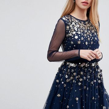 ASOS Floral Sparkle Embellished Tulle Mini Dress at asos.com