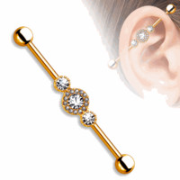 Industrial Cartilage Barbell 14ga Rose Gold IP with Clear Circle Gems