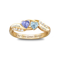 Personalized Birthstone Couples Ring: Loves Journey