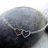 Silver Heart Necklace Valentines Day Gift Infinity Necklace - Together Forever