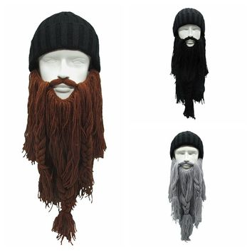 High Quality Women Men's Warm Wool Handmade Beanie Viking Beard Face Mask Crochet Winter Ski Cosplay Prop Caps Hats Funny Gift