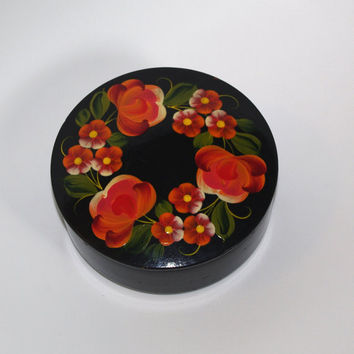 Russian Jewelry Box, Round Wooden, Vintage Black Ornament Wood Box, Flowers, Hand painted Treasury Box, Folk Trinket Box Rosemaling Russia