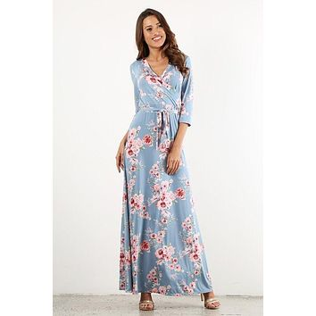Floral Splendor Maxi Dress - Light Blue
