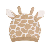 Toddler and Baby's Cute Giraffe Print Knitted Cotton Beanie Hat