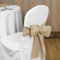 Wedding Burlap Bow Chair Sash, 7-inch, 3-yard