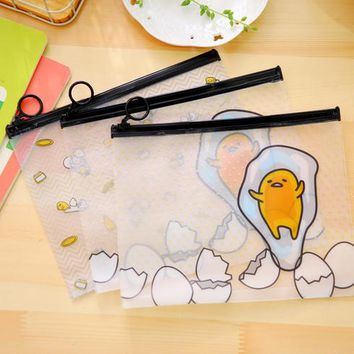 2 Styles Cartoon Gudetama PVC File Bag A5 File Folder Documents Filling Bag Office School Supplies Stationery Bag 001