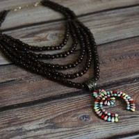 'Wooded Tribe' Multi-Strand Squash Blossom Necklace - Multi-Color