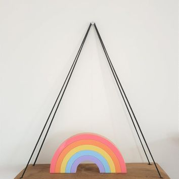 Pastel Rainbow Room Decoration, Children's Bedroom and Nursery Decor, Wood & Acrylic