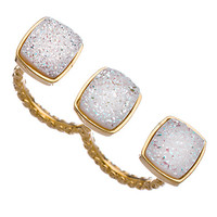 Dara Ettinger Gold And Druzy Mimi Double Ring