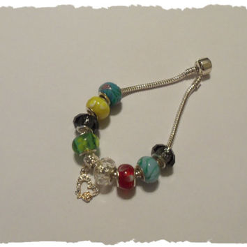 Multicolor Lampwork European Charm Bracelet Jewelry