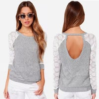 Casaul Lace Embroidered Long Sleeve Cut Out Back Gray Shirt