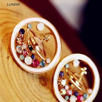 1Pair Hot sale High Quality Novelty Universe Planet stud earrings Saturn earings fashion jewelry rhinestone earrings for women