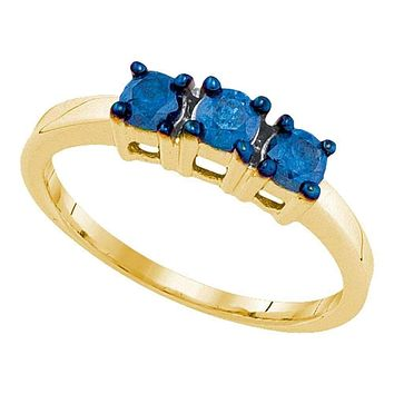 10kt Yellow Gold Women's Round Blue Color Enhanced Diamond 3-stone Bridal Wedding Engagement Ring 1/2 Cttw - FREE Shipping (US/CAN)