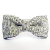 Bow Tie for Men by BartekDesign: pre tied light gray herringbone wool grooms wedding classic necktie handmade