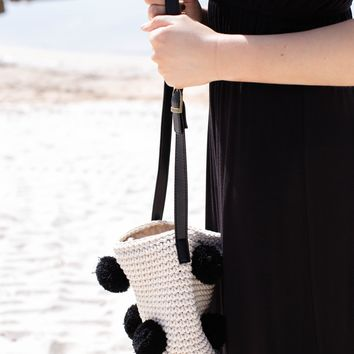 Pom-pom Small Tote, Black/Beige