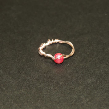 Delicate pink wire wrapped pearl ring