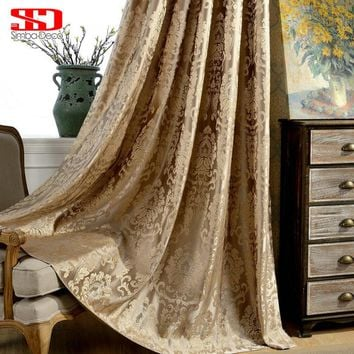 European Blackout Curtains For Living Room Luxury Jacquard Blinds Drapes Window Panels Damask Fabric For Bedroom Shading 70%