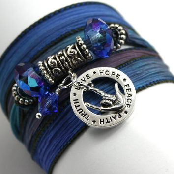 "Hand Dyed Silk Wrap Bracelet - Persian with American Sign Language ""I Love You"" Encircled in Hope Ring with Sapphire Swarovski Crystals"