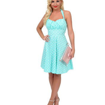 1950s Style Mint Green & White Polka Dot Halter Fit & Flare Dress