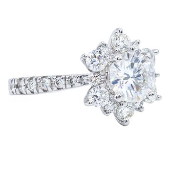 6.0mm Round Moissanite 14K White Solid Gold Diamond Snowflake Halo Design Ring 1.25 Carat Total Weight Finger Size 4.5