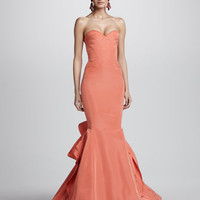 Strapless Ruffle-Back Fishtail Gown