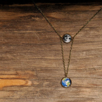 Planet Earth and moon necklace, space necklace, statement necklace, solar system necklace, antique brass necklace, full moon necklace, Earth