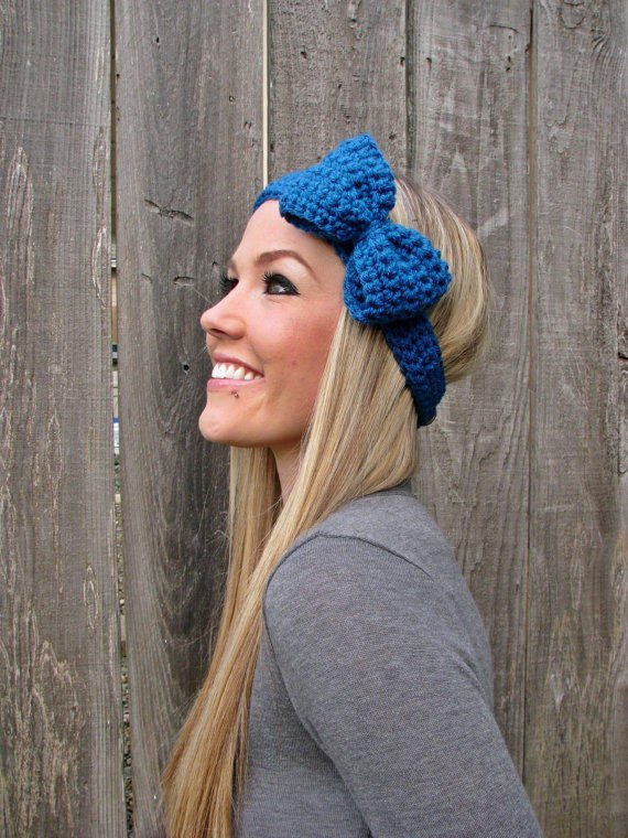 Sapphire Blue Bow Headband with Natural Vegan Coconut Shell Buttons - Adjustable
