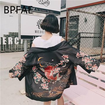 2018 New Arrival Harajuku Japanese Kimono Women Sun Clothing Japanese Traditional Shirt Multiple Floral Plus Size Cardigan Kimon