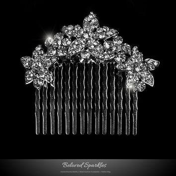 Frannie Petite Flower Hair Comb | Crystal