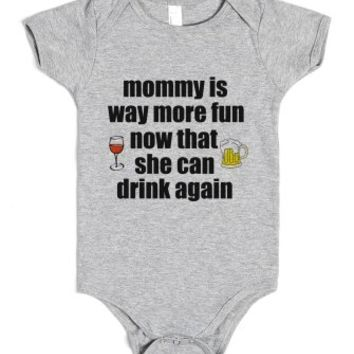 Mommy Is Way More Fun Now-Unisex Heather Grey Baby Onesuit 00