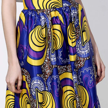 Vintage High-Waist Printed Pleated Skirt