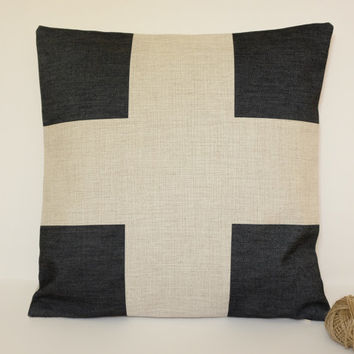Linen Pillow cover, Swiss Cross Linen Cushions, Plus Sign Decorative Pillow, Cross Linen Pillow Cover, Throw Pillow, Sofa Pillow