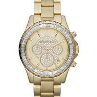 Michael Kors Mid-Size Golden Stainless Steel Madison Chronograph Glitz Watch