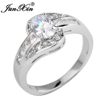 Female Oval Engage Ring White Gold Filled Jewelry Wedding Rings Birth Stone Girlfriend Gifts