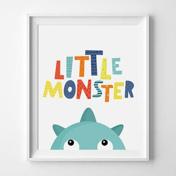 Baby boy nursery Art Print, Little Monster Art, Printable Wall Art, Monster nursery print, Boys Wall Art, Blue nursery Print, monster print